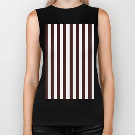 Narrow Vertical Stripes - White and Dark Sienna Brown Biker Tank