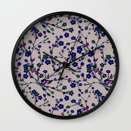 Spring Blossom black Background Wall Clock