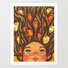The girl with crow-tits Art Print