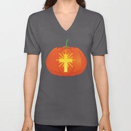 Christian Cross Jack o Lantern Halloween design Unisex V-Neck