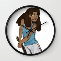 sport Wall Clocks featuring Sport girl by Shauny P.