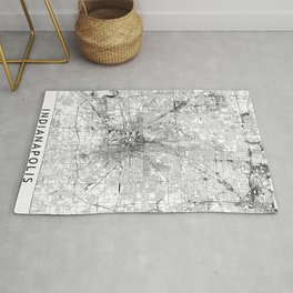 Indianapolis White Map Rug