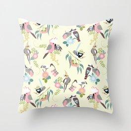 Talk birdy to me - Pink & Cream Throw Pillow