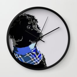 Black Standard Poodle in Blue Wall Clock