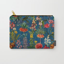 Vintage & Shabby Chic - Blue Midnight Spring Botancial Flower Garden Carry-All Pouch