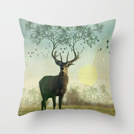 Evergreen Stage Horn Throw Pillow