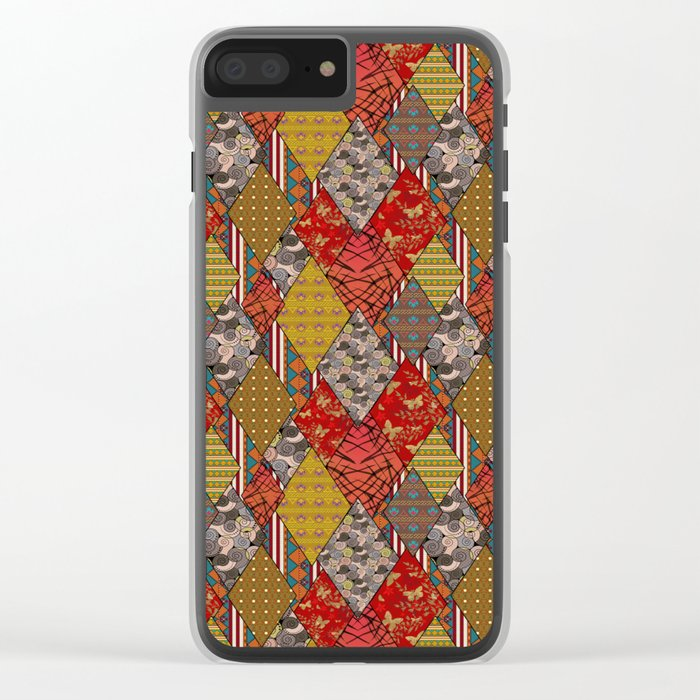 Rustic . Patchwork . Clear iPhone Case