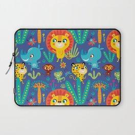 Kids Jungle Animals Monkey Lion Rhino Leopard Pattern Laptop Sleeve