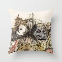 soviet Throw Pillows featuring Soviet Monuments by Jess Worby