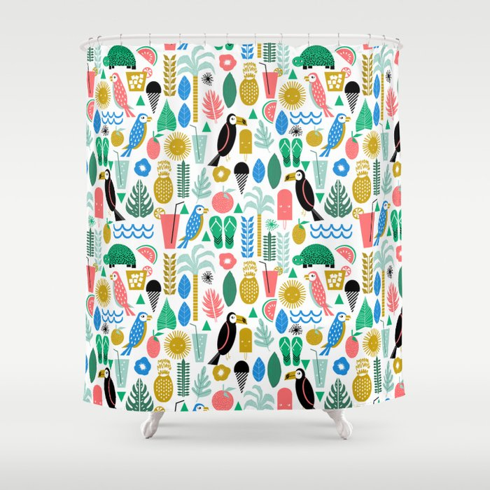 Tropical Vacation Island Print Pattern Fun Beach Surf Sand Gift For Trendy Dorm Room Bright