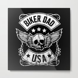Biker Dad USA Motorcycle Skull Design Gift for Father Metal Print