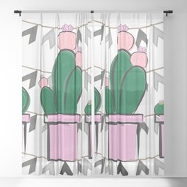 3 Cacti On Background Sheer Curtain