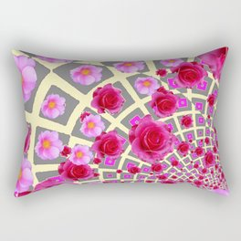 Red & Pink Roses Trellis Grey-Yellow Floral Art Rectangular Pillow