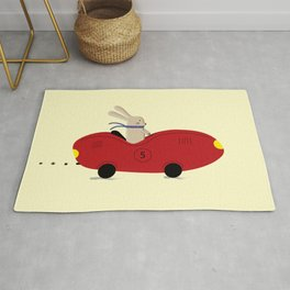 Rabbit and his car Rug