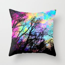 Black Trees Colorful space. Throw Pillow