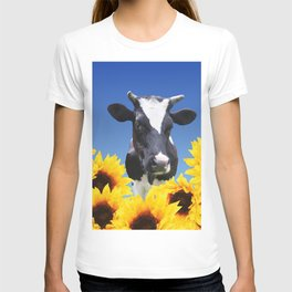 Cow black and white with sunflowers T-shirt