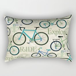 Bicycle Journey Blue Rectangular Pillow