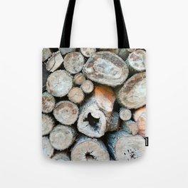 Rustic Beige Brown Logs on Woodpile Tote Bag