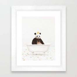 Panda with Rubber Ducky in Vintage Bathtub Framed Art Print
