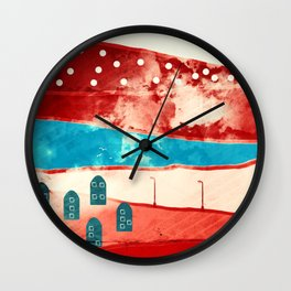 Red landscape Wall Clock