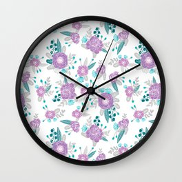 Floral bouquet minimal lilac and turquoise nursery home decor patterned gifts Wall Clock