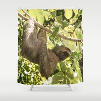 sloth Shower Curtains featuring Sloth by miloezger