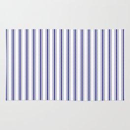 Wide Navy Blue Mattress Ticking Stripes on White Rug