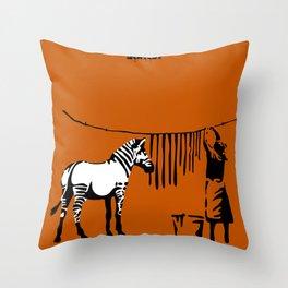 Banksy Washing Zebra Stripes Throw Pillow