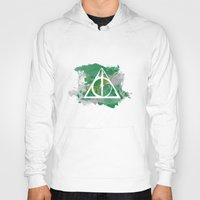 deathly hallows Hoodies featuring The Deathly Hallows (Slytherin) by FictionTea