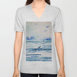 Gliding in shallow water Unisex V-Neck