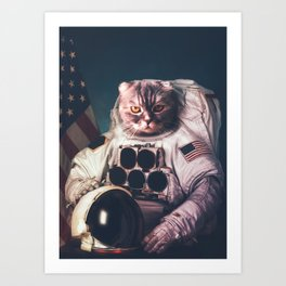 Beautiful cat astronaut Art Print
