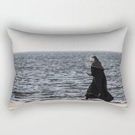 Young muslim girl walking at seaside Rectangular Pillow