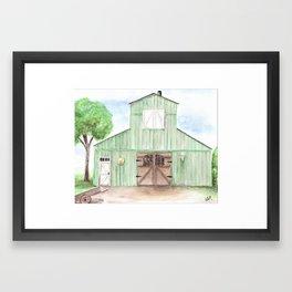 Green Barn Painting, Watercolor Country Farm Art Framed Art Print
