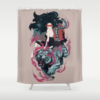 beauty and the beast Shower Curtains featuring Beauty and the Beast by Artemple