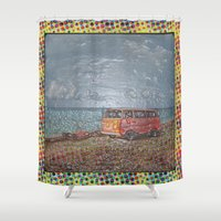 vw bus Shower Curtains featuring THE ORANGE VW BUS by Bones and Balloons