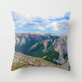 Views from the top of Sulphur Skyline in Jasper National Park, Canada Throw Pillow