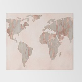 Rosegold Marble Map of the World Throw Blanket