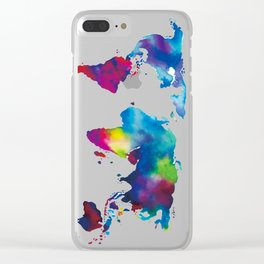 World Map - Colorful Clear iPhone Case
