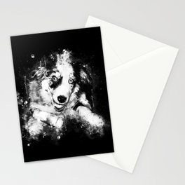 australian shepherd aussie dog puppy splatter watercolor black white Stationery Cards