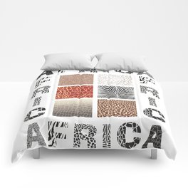 Africa - background with text and texture wild animal Comforters