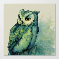 hell Canvas Prints featuring Green Owl by Teagan White