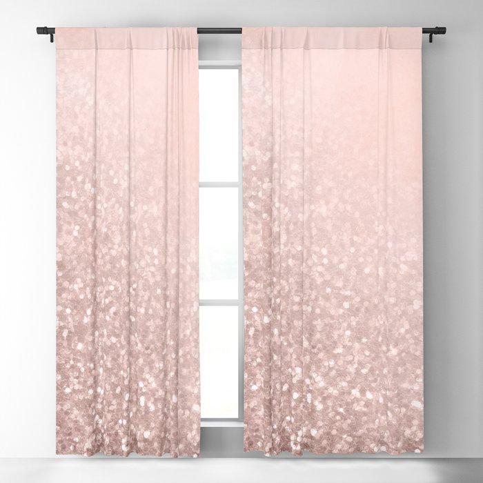 Rose Gold Sparkles on Pretty Blush Pink VI Blackout Curtain
