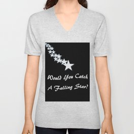 Would You Catch A Falling Star? Black and White Art, Stars Unisex V-Neck
