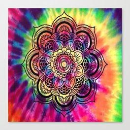 Trippy Rainbow Tiedye Mandala Canvas Print