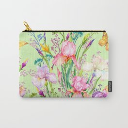 Pastel Pink & Lilac Iris Floral Pattern With Butterflies Carry-All Pouch