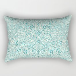 Detailed Floral Pattern in Teal and Cream Rectangular Pillow