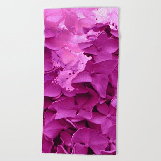through the purple hydrangea Beach Towel