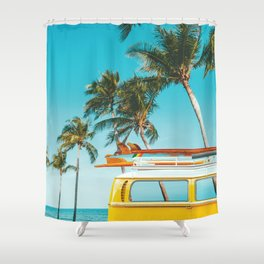 Yellow Van Down by the Sea Shower Curtain
