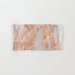 Rose Gold Marble with Yellow Gold Glitter Hand & Bath Towel