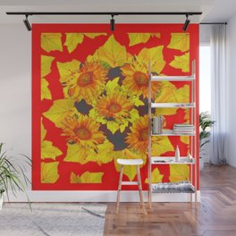 Red & Gold Leaves Sunflowers Pattern Art Wall Mural